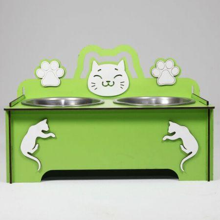 Petzz Ahşap Kedi Mama ve Su Kabı Seti Yeşil 2x300 Ml 9 Cm