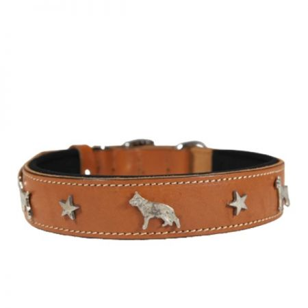 Doggie Comfort Deri Köpek Süslü Köpek Boyun Tasması Medium Camel