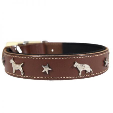 Doggie Comfort Deri Köpek Süslü Köpek Boyun Tasması Large Kahverengi