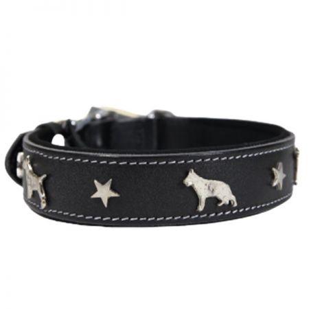 Doggie Comfort Deri Köpek Süslü Köpek Boyun Tasması Large Siyah