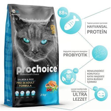 Pro Choice Pro 34 Salmon&Rice Somonlu Yetişkin Kedi Maması 15 Kg