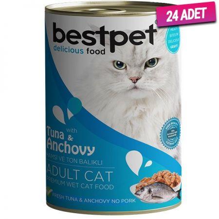 Bestpet Ton Balıklı ve Hamsili Gravy Yetişkin Kedi Konservesi 400 Gr - 24 Adet