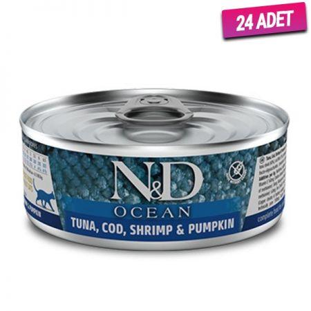 N&D Ocean Ton Balık Morina Balık Karides ve Balkabaklı Kedi Konservesi 80 Gr - 24 Adet