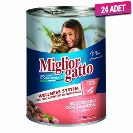 Miglior Somon Balıklı Yetişkin Kedi Konservesi 405 Gr - 24 Adet