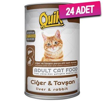 Quik Ciğer ve Tavşanlı Yetişkin Kedi Konservesi 415 Gr - 24 Adet