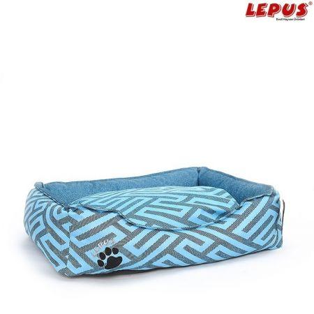 Lepus Premium Köpek Yatağı Mavi L 75x60x24h cm