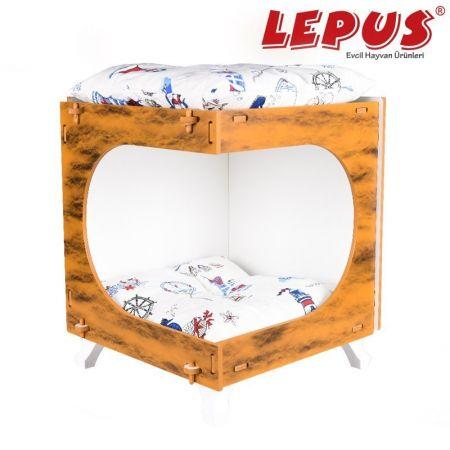 Lepus Küp Max Kedi ve Küçük Irk Köpek Yuvası Hardal 40x45x50h cm