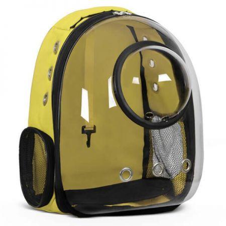 Glipet Fanuslu Şeffaf Astronot Kedi Köpek Taşıma Çantası 42x22x33 Cm Sarı