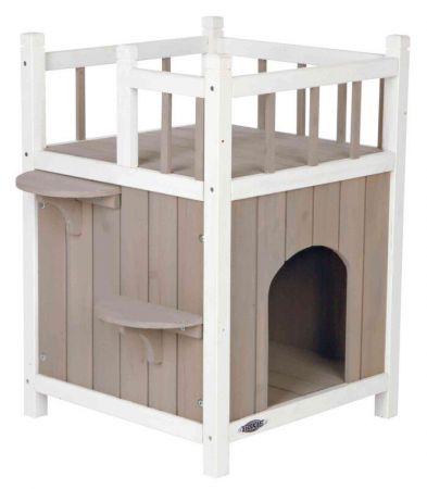Trixie Kedi Evi  Teraslı ve Balkonlu 45x65x45 Cm Gri/Beyaz