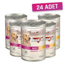 BonaCibo Soslu Dana Etli Yaş Yetişkin Köpek Maması 395 gr - 24 Adet