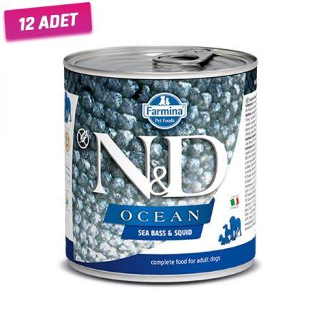 N&D Ocean Levrek ve Mürekkep Balıklı Köpek Konservesi 285 Gr - 12 Adet