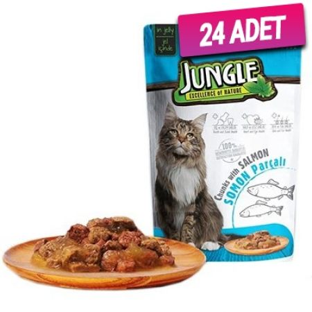 Jungle Somonlu Pouch Yetişkin Kedi Konservesi 85 Gr - 24 Adet